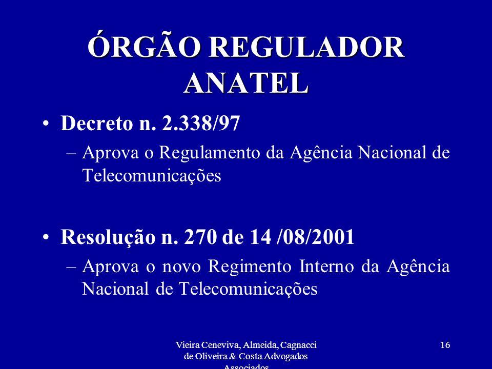 ÓRGÃO REGULADOR ANATEL