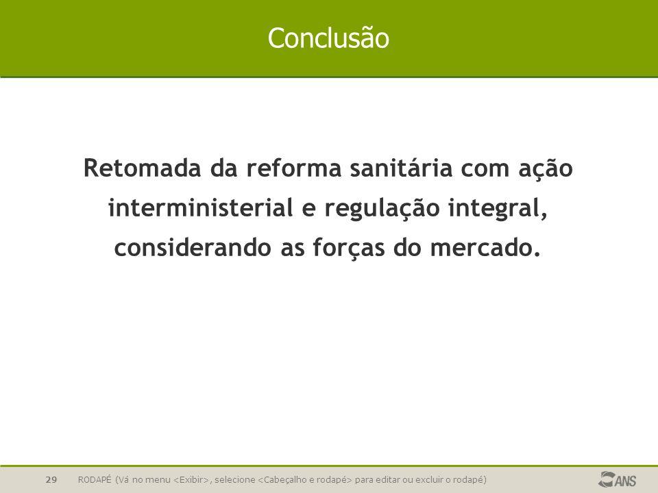 Conclusão Retomada da reforma sanitária com ação interministerial e regulação integral, considerando as forças do mercado.