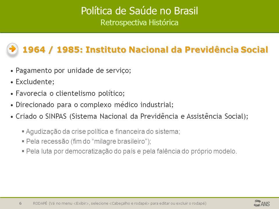 1964 / 1985: Instituto Nacional da Previdência Social