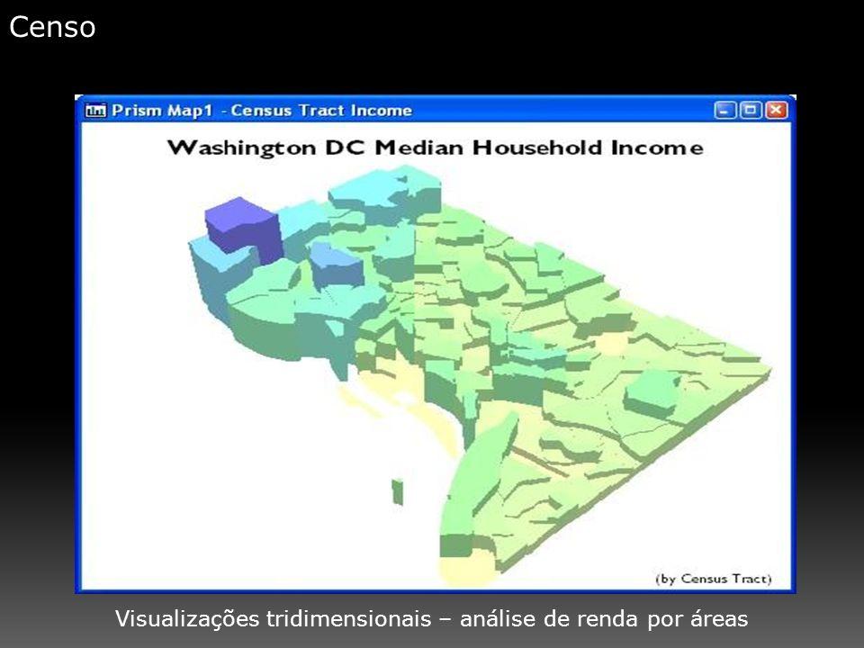 Visualizações tridimensionais – análise de renda por áreas