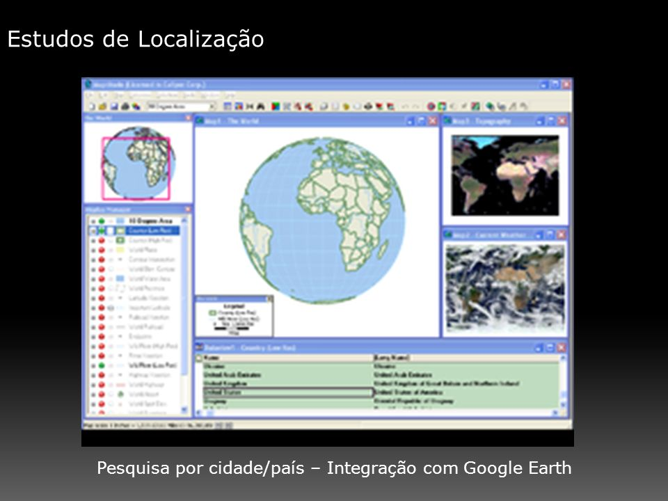 Pesquisa por cidade/país – Integração com Google Earth