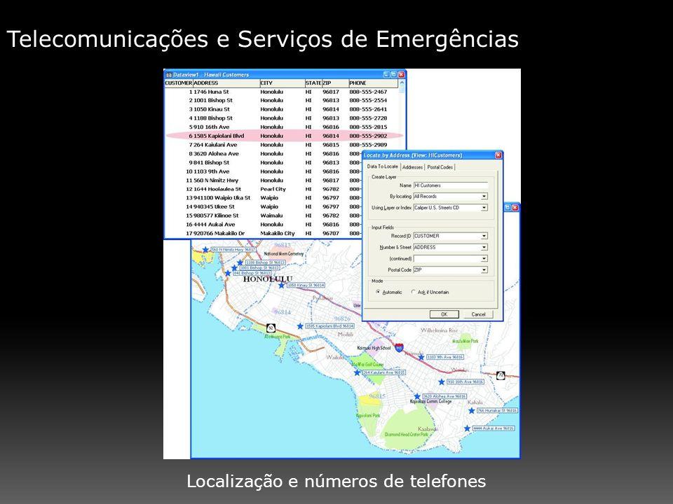 Localização e números de telefones