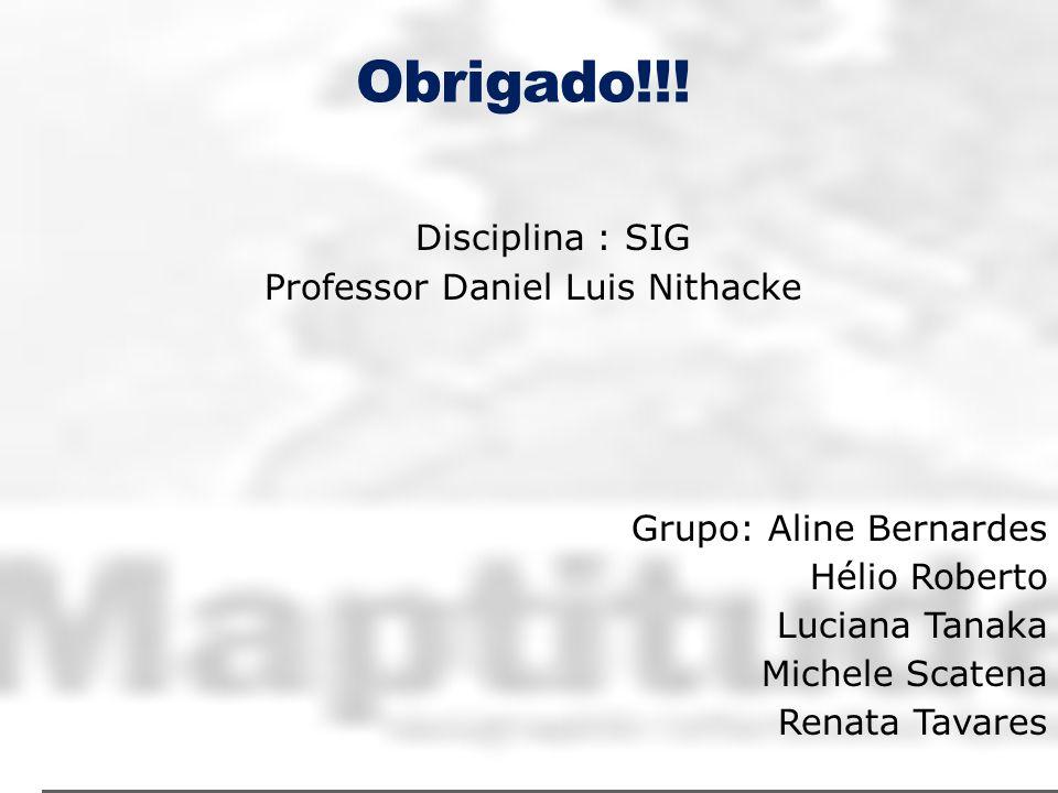 Obrigado!!!Disciplina : SIG Professor Daniel Luis Nithacke Grupo: Aline Bernardes Hélio Roberto Luciana Tanaka Michele Scatena Renata Tavares