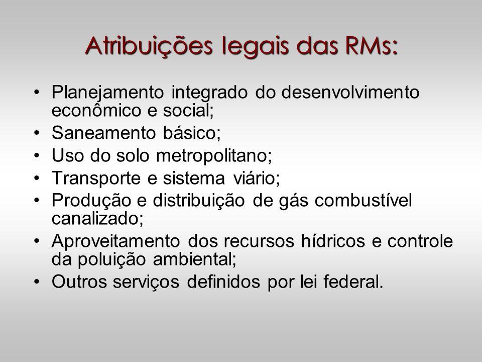 Atribuições legais das RMs: