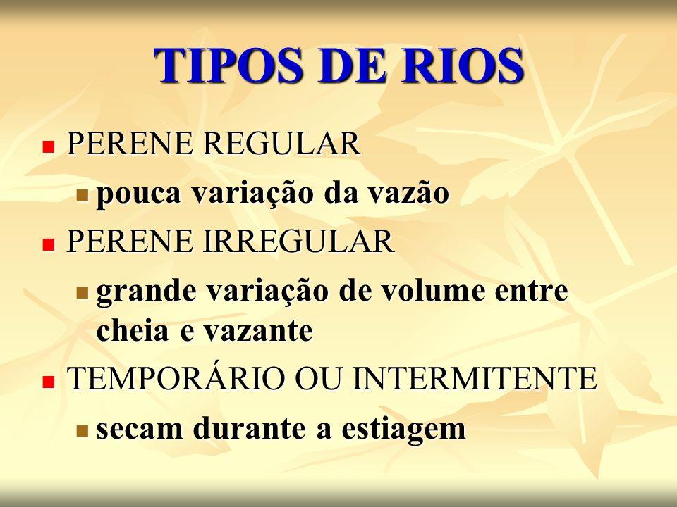 TIPOS DE RIOS PERENE REGULAR pouca variação da vazão PERENE IRREGULAR