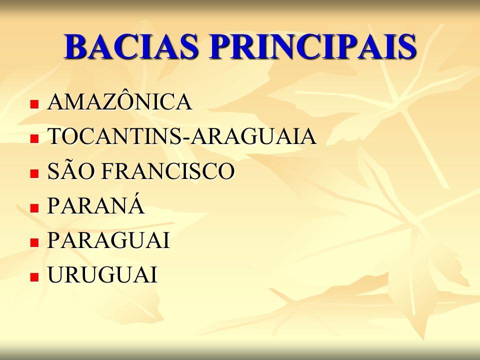 BACIAS PRINCIPAIS AMAZÔNICA TOCANTINS-ARAGUAIA SÃO FRANCISCO PARANÁ
