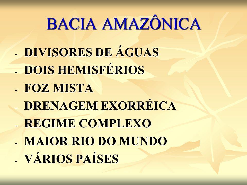 BACIA AMAZÔNICA DIVISORES DE ÁGUAS DOIS HEMISFÉRIOS FOZ MISTA