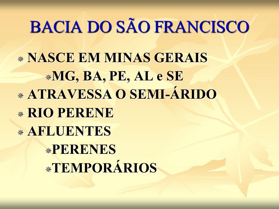 BACIA DO SÃO FRANCISCO NASCE EM MINAS GERAIS MG, BA, PE, AL e SE