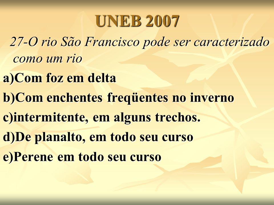 UNEB 2007 27-O rio São Francisco pode ser caracterizado como um rio