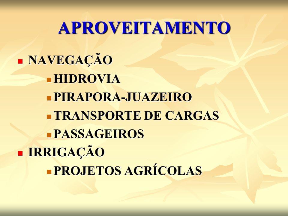 APROVEITAMENTO NAVEGAÇÃO HIDROVIA PIRAPORA-JUAZEIRO