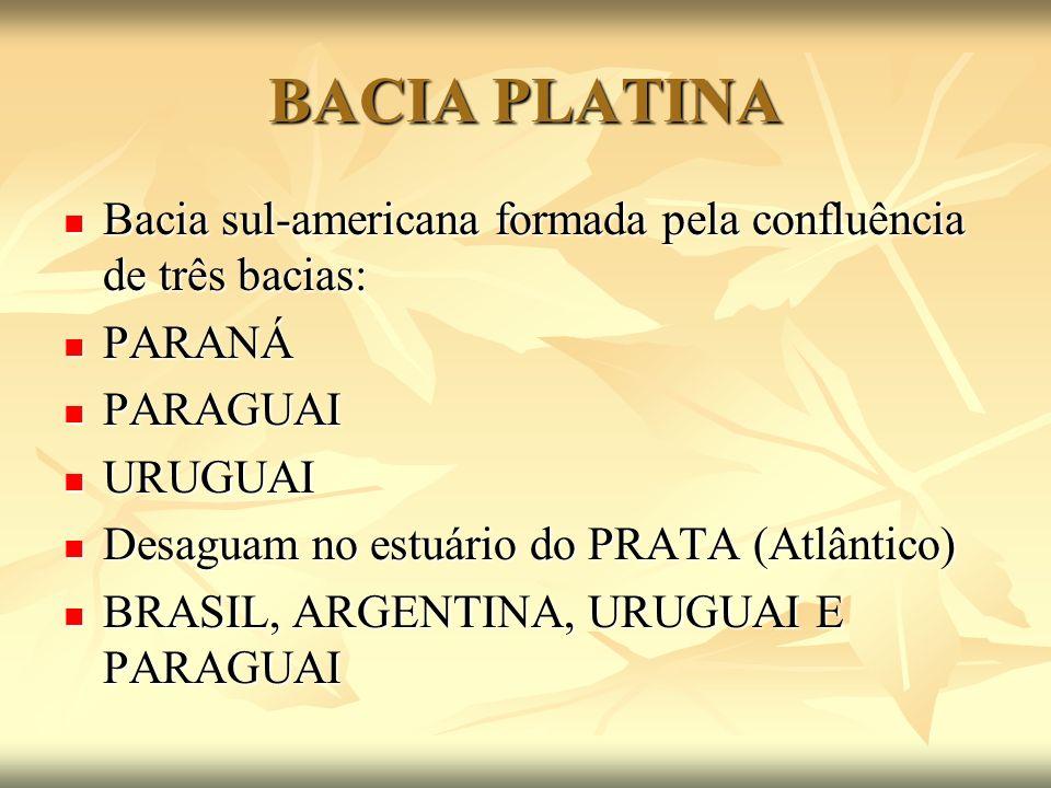 BACIA PLATINA Bacia sul-americana formada pela confluência de três bacias: PARANÁ. PARAGUAI. URUGUAI.