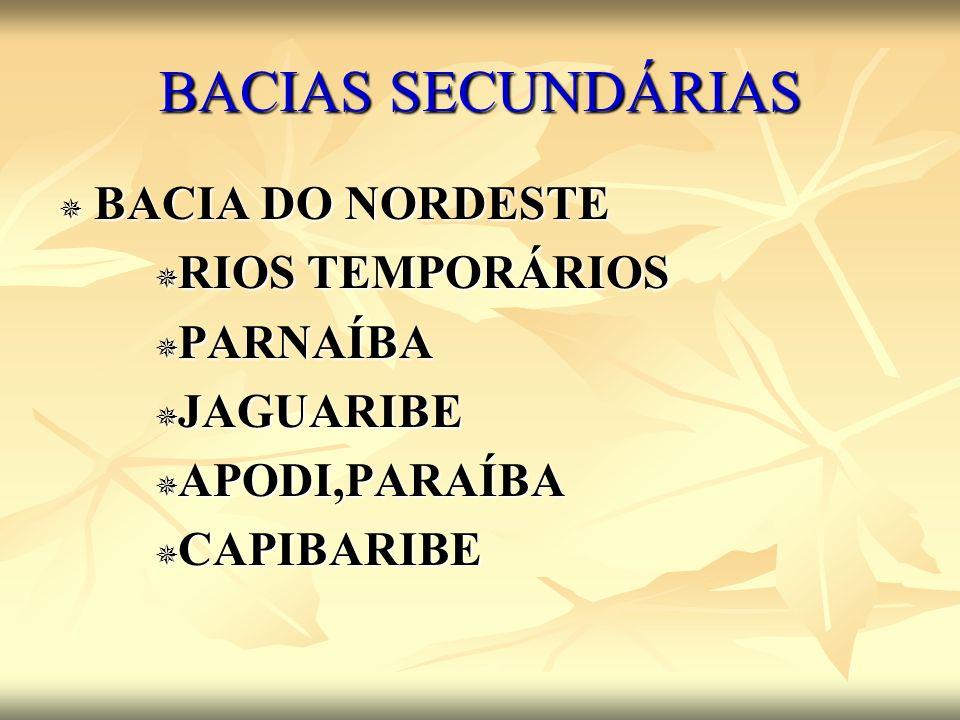 BACIAS SECUNDÁRIAS BACIA DO NORDESTE RIOS TEMPORÁRIOS PARNAÍBA