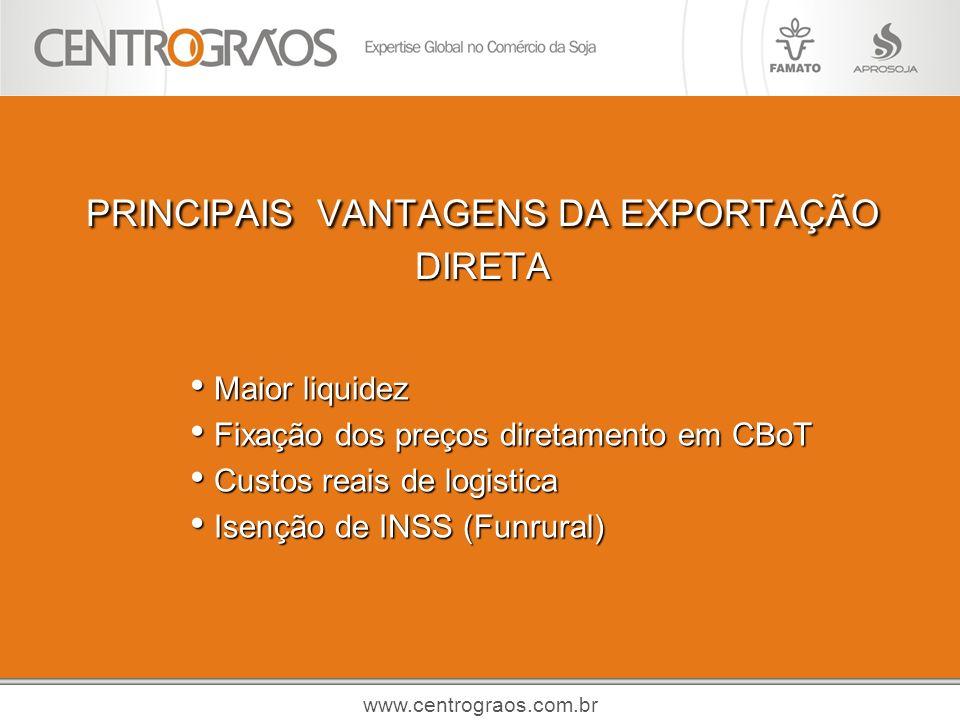 PRINCIPAIS VANTAGENS DA EXPORTAÇÃO DIRETA