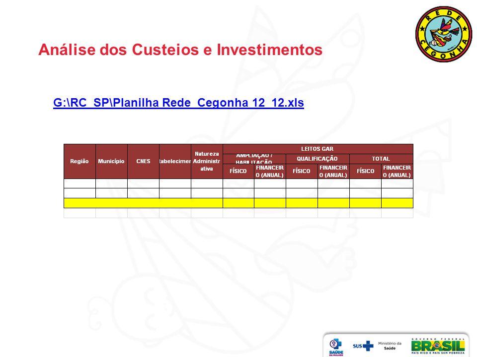 Análise dos Custeios e Investimentos