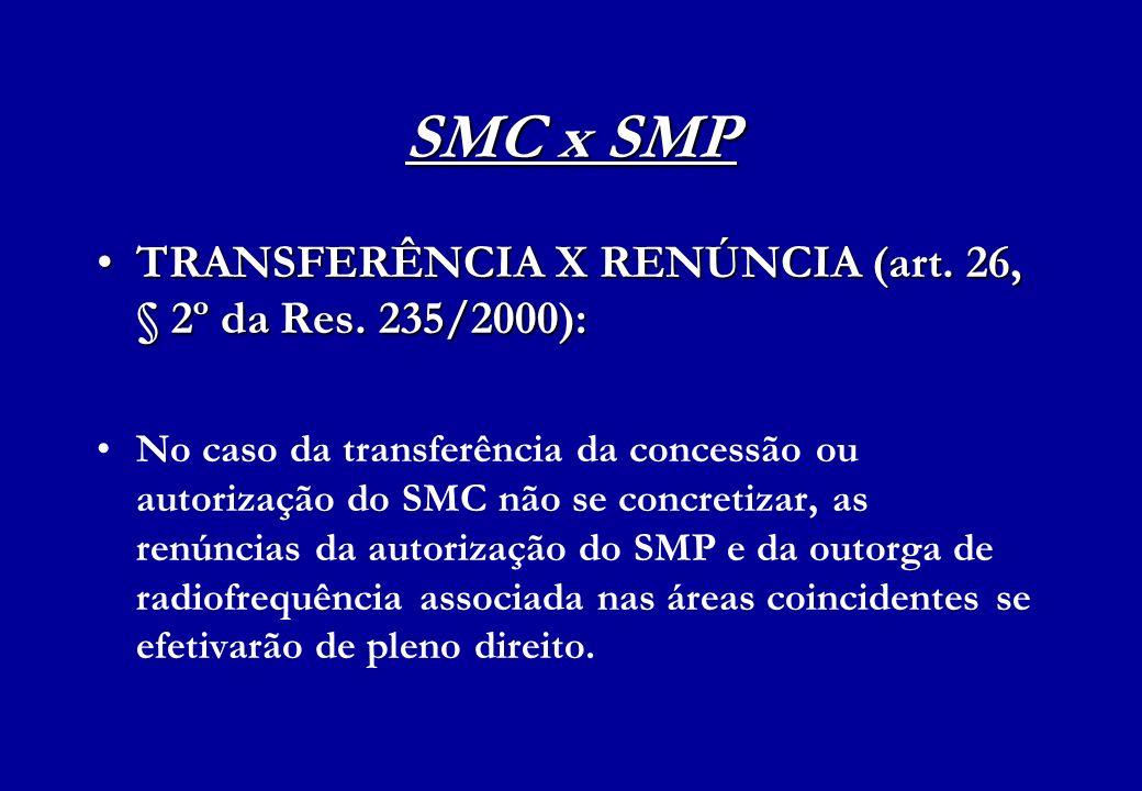 SMC x SMP TRANSFERÊNCIA X RENÚNCIA (art. 26, § 2º da Res. 235/2000):