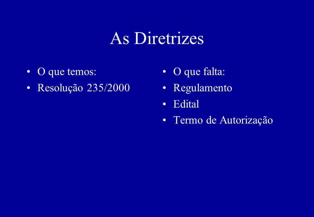 As Diretrizes O que temos: Resolução 235/2000 O que falta: Regulamento