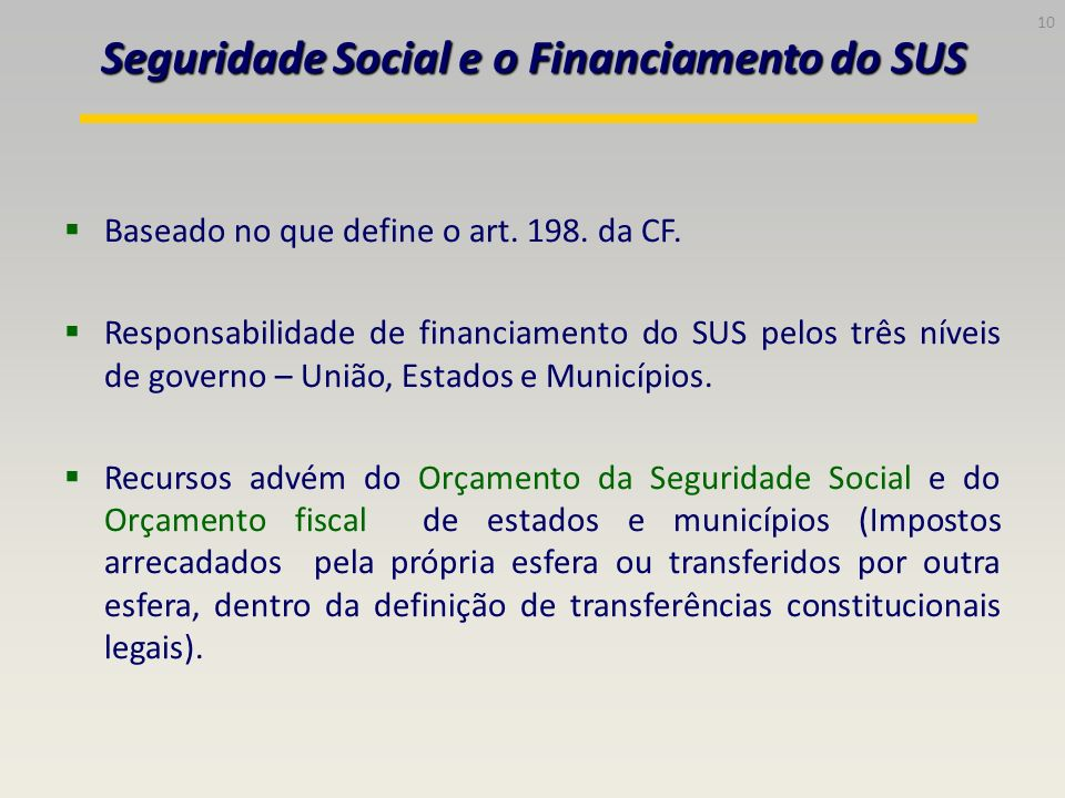 Seguridade Social e o Financiamento do SUS