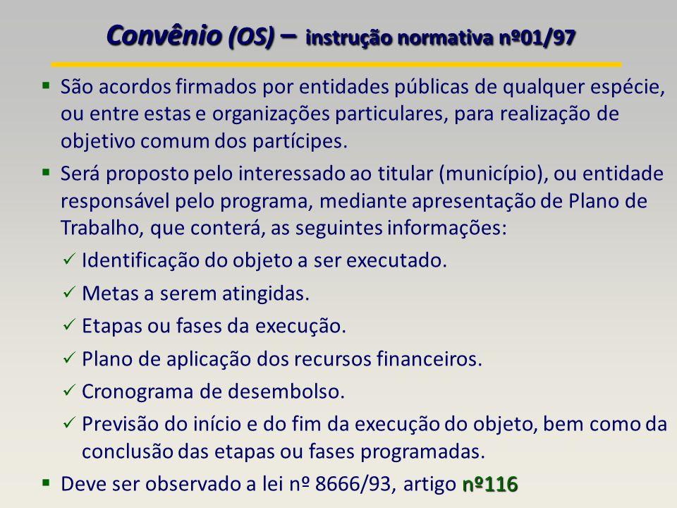Convênio (OS) – instrução normativa nº01/97