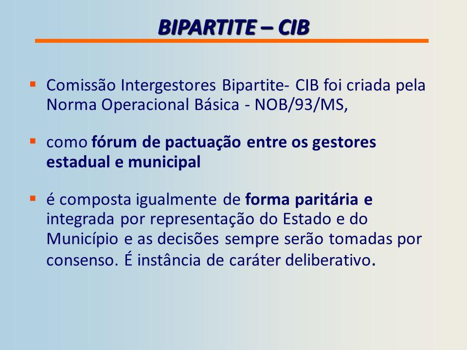 BIPARTITE – CIB Comissão Intergestores Bipartite- CIB foi criada pela Norma Operacional Básica - NOB/93/MS,