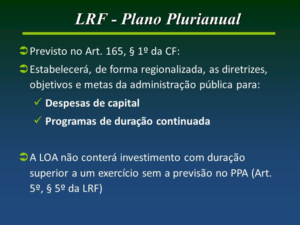 LRF - Plano Plurianual Previsto no Art. 165, § 1º da CF: