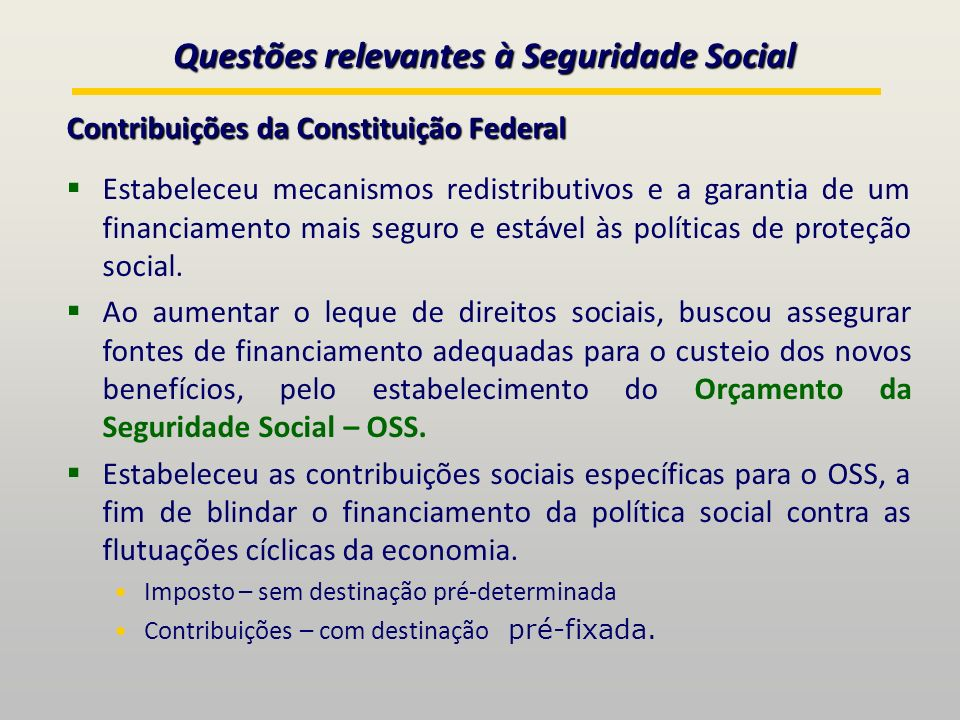 Questões relevantes à Seguridade Social