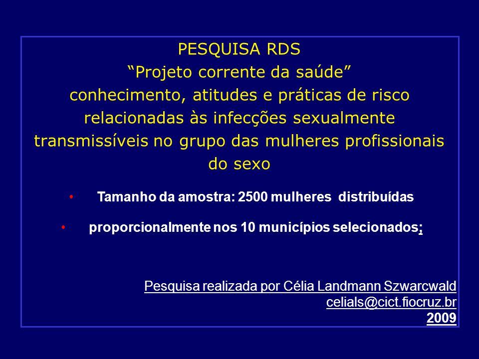PESQUISA RDS Projeto corrente da saúde conhecimento, atitudes e práticas de risco relacionadas às infecções sexualmente transmissíveis no grupo das mulheres profissionais do sexo