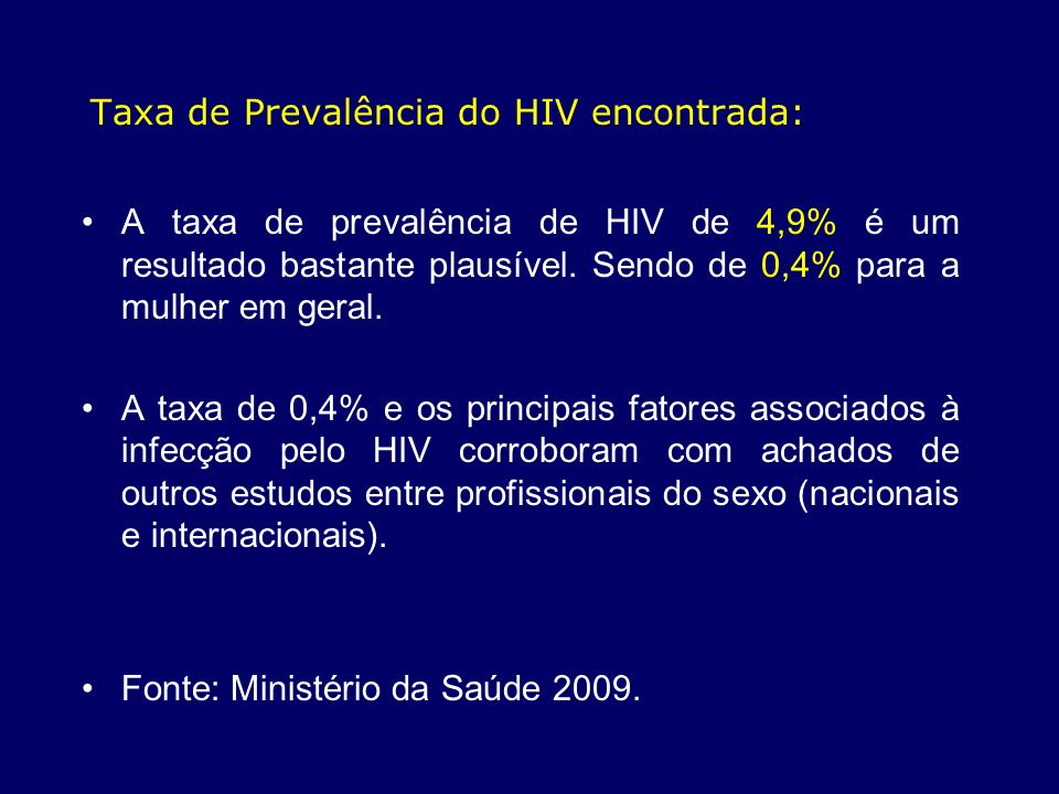 Taxa de Prevalência do HIV encontrada: