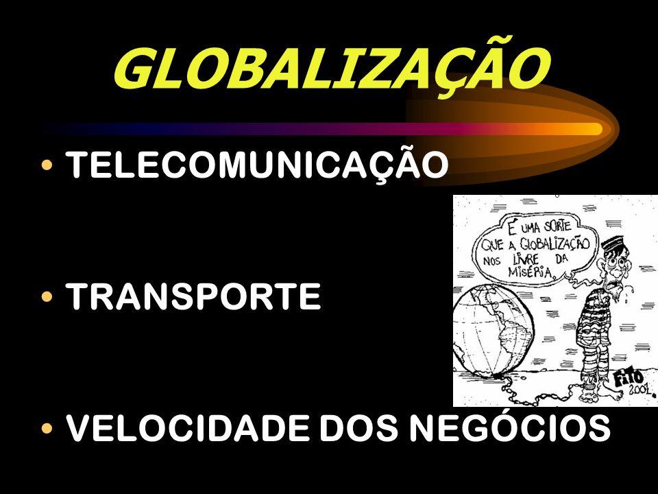 GLOBALIZAÇÃO TELECOMUNICAÇÃO TRANSPORTE VELOCIDADE DOS NEGÓCIOS