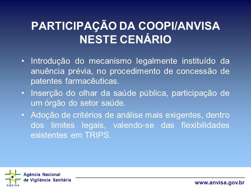 PARTICIPAÇÃO DA COOPI/ANVISA NESTE CENÁRIO