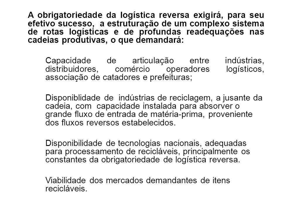 A obrigatoriedade da logística reversa exigirá, para seu efetivo sucesso, a estruturação de um complexo sistema de rotas logísticas e de profundas readequações nas cadeias produtivas, o que demandará: Capacidade de articulação entre indústrias, distribuidores, comércio operadores logísticos, associação de catadores e prefeituras; Disponiblidade de indústrias de reciclagem, a jusante da cadeia, com capacidade instalada para absorver o grande fluxo de entrada de matéria-prima, proveniente dos fluxos reversos estabelecidos.