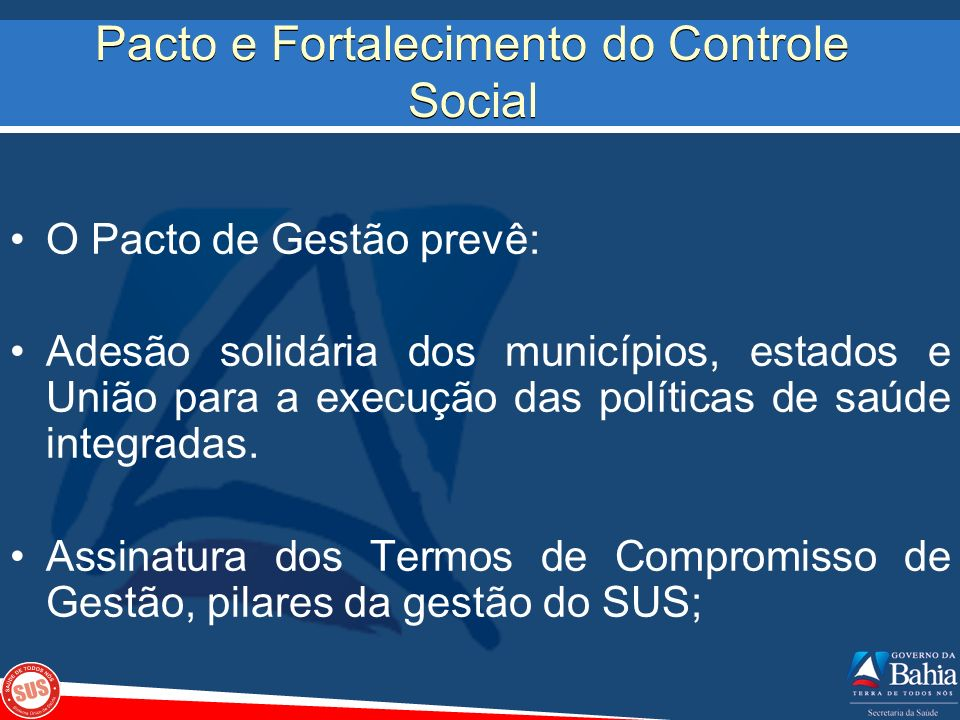 Pacto e Fortalecimento do Controle Social