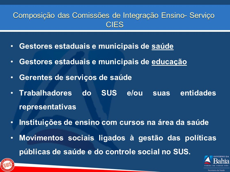 Composição das Comissões de Integração Ensino- Serviço CIES