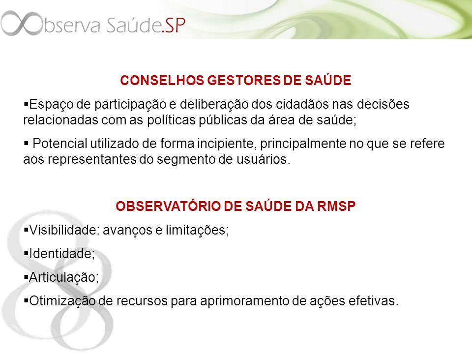 CONSELHOS GESTORES DE SAÚDE OBSERVATÓRIO DE SAÚDE DA RMSP