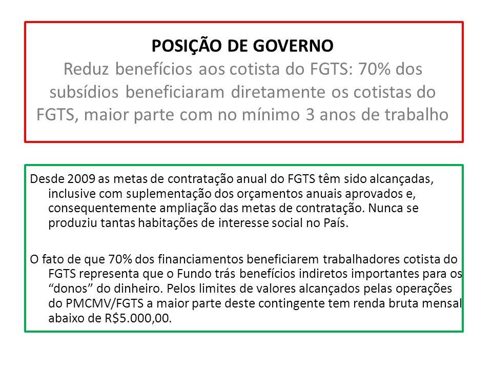 POSIÇÃO DE GOVERNO Reduz benefícios aos cotista do FGTS: 70% dos subsídios beneficiaram diretamente os cotistas do FGTS, maior parte com no mínimo 3 anos de trabalho