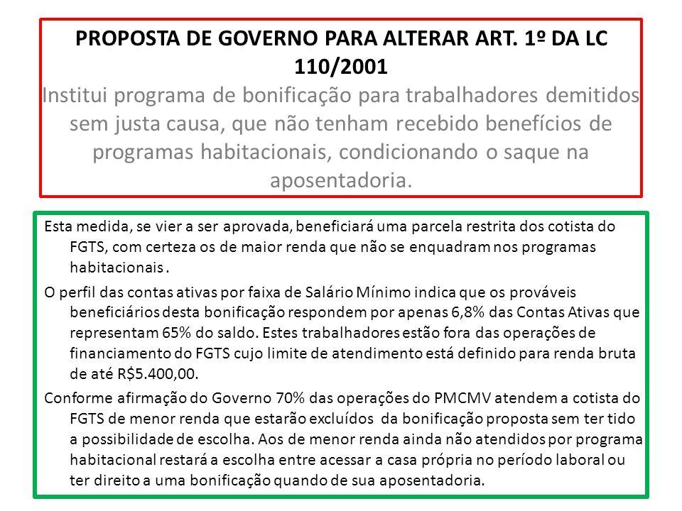 PROPOSTA DE GOVERNO PARA ALTERAR ART