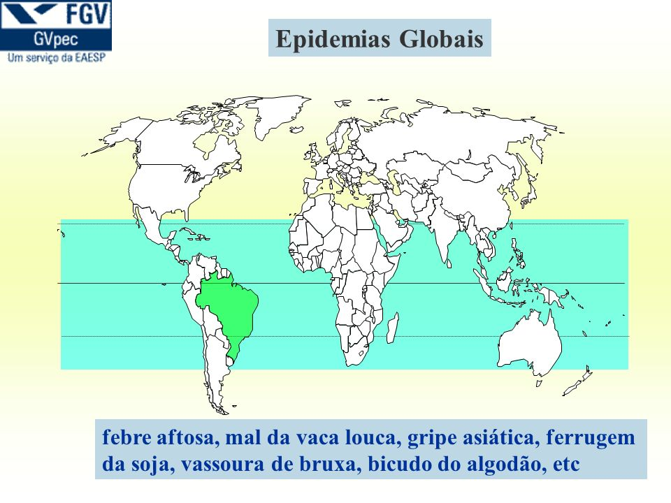 Epidemias Globaisfebre aftosa, mal da vaca louca, gripe asiática, ferrugem.