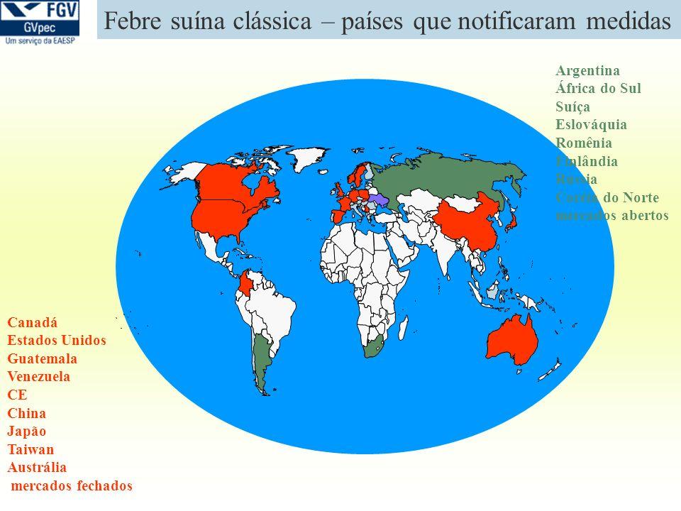 Febre suína clássica – países que notificaram medidas