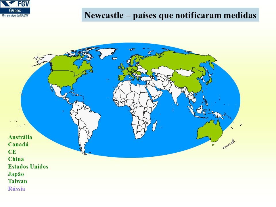 Newcastle – países que notificaram medidas
