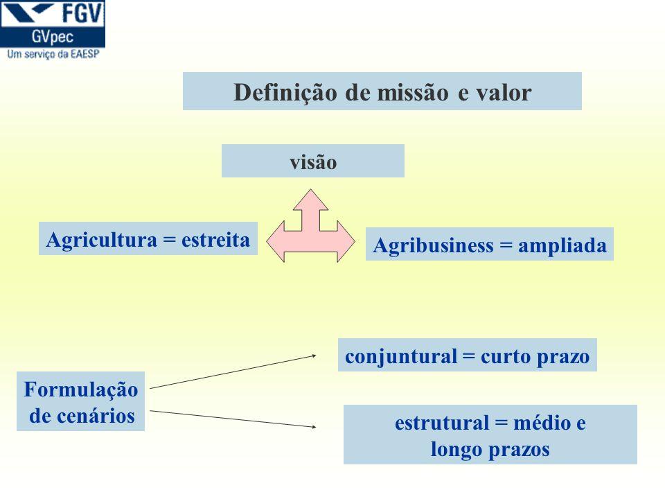 Definição de missão e valor