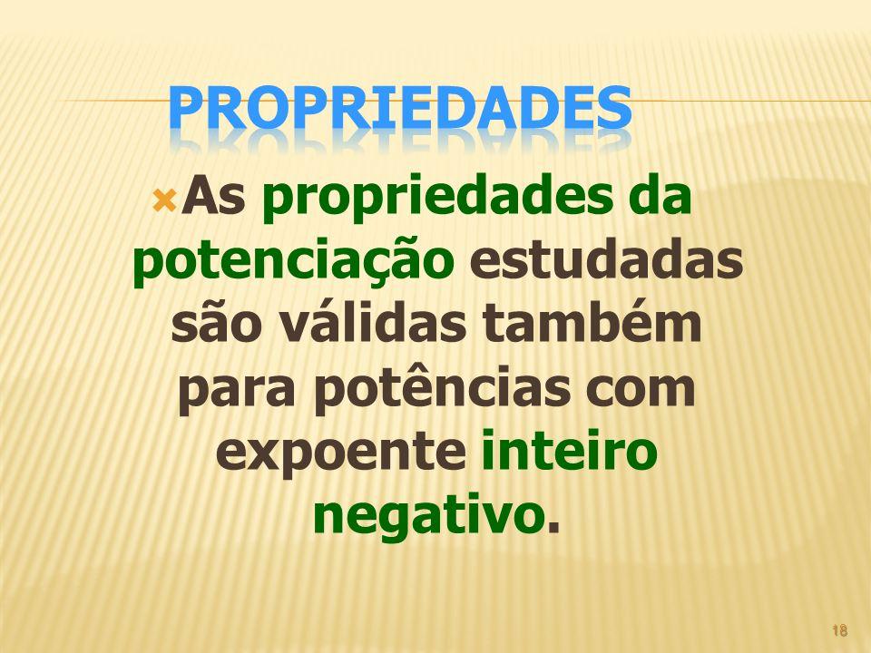 Propriedades As propriedades da potenciação estudadas são válidas também para potências com expoente inteiro negativo.