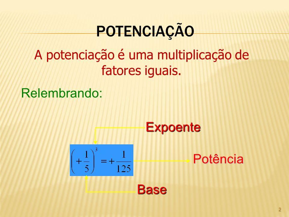 A potenciação é uma multiplicação de fatores iguais.