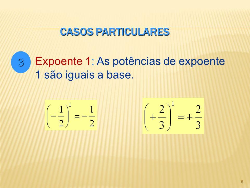 Casos Particulares 3 Expoente 1: As potências de expoente 1 são iguais a base.