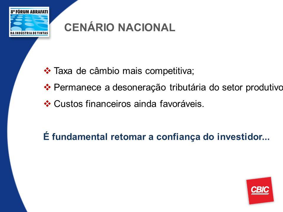 CENÁRIO NACIONAL Taxa de câmbio mais competitiva;