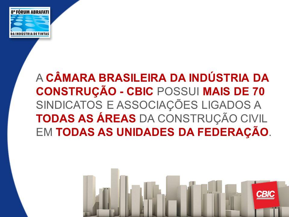 A CÂMARA BRASILEIRA DA INDÚSTRIA DA CONSTRUÇÃO - CBIC POSSUI MAIS DE 70 SINDICATOS E ASSOCIAÇÕES LIGADOS A TODAS AS ÁREAS DA CONSTRUÇÃO CIVIL EM TODAS AS UNIDADES DA FEDERAÇÃO.