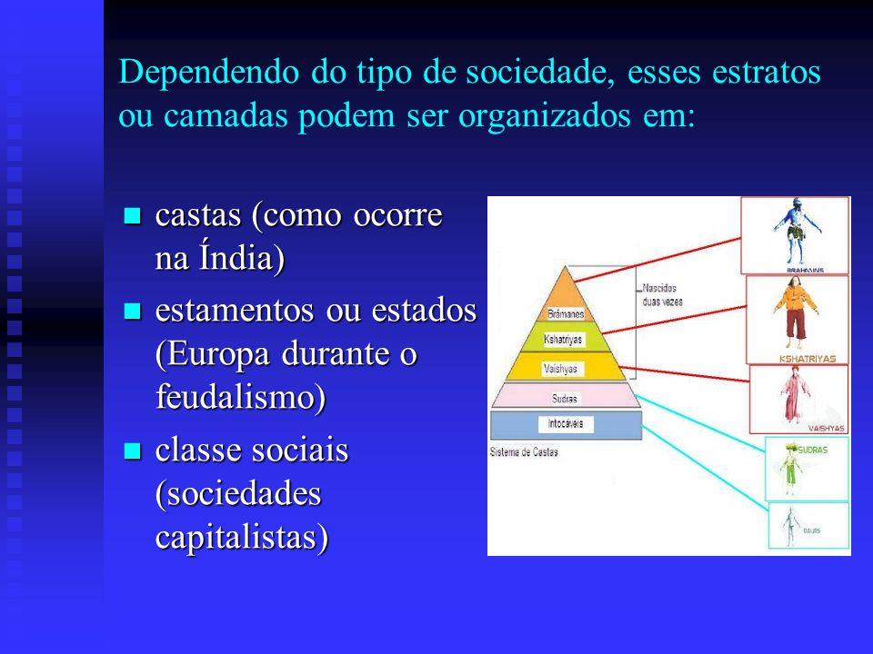 Dependendo do tipo de sociedade, esses estratos ou camadas podem ser organizados em: