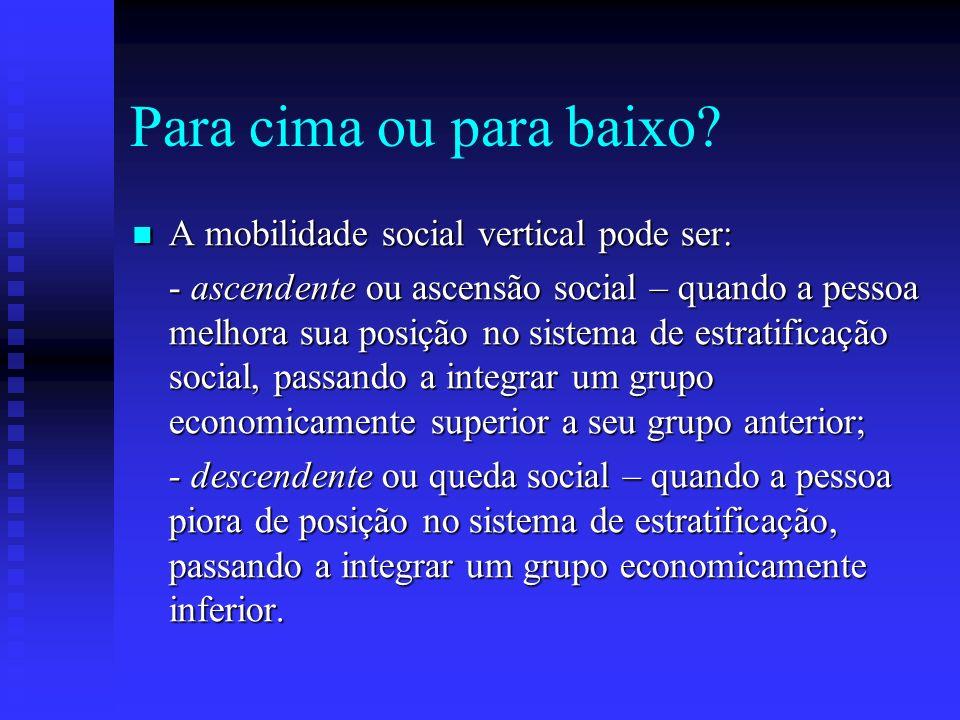 Para cima ou para baixo A mobilidade social vertical pode ser: