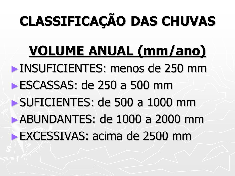 CLASSIFICAÇÃO DAS CHUVAS