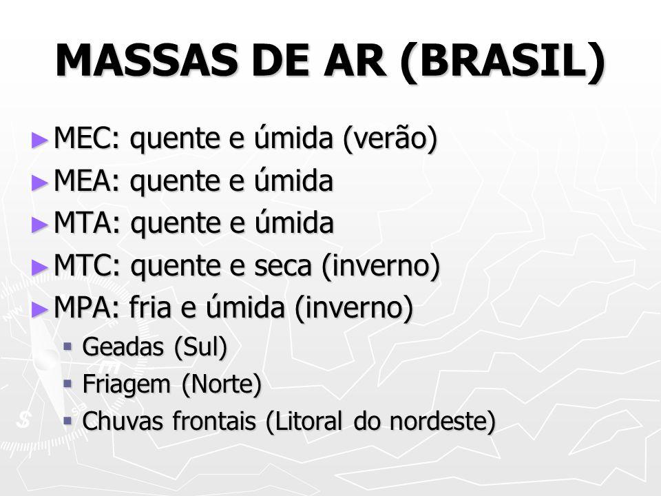 MASSAS DE AR (BRASIL) MEC: quente e úmida (verão) MEA: quente e úmida