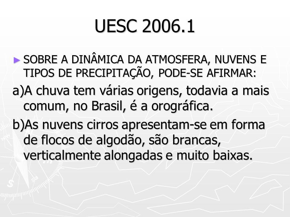 UESC 2006.1 SOBRE A DINÂMICA DA ATMOSFERA, NUVENS E TIPOS DE PRECIPITAÇÃO, PODE-SE AFIRMAR: