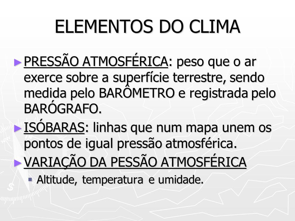 ELEMENTOS DO CLIMA PRESSÃO ATMOSFÉRICA: peso que o ar exerce sobre a superfície terrestre, sendo medida pelo BARÔMETRO e registrada pelo BARÓGRAFO.